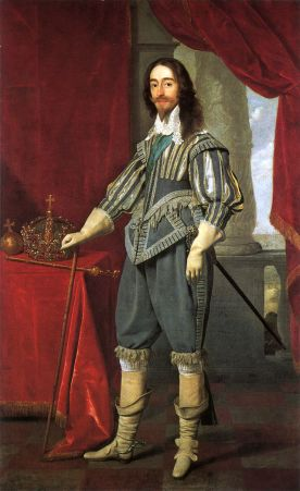 Charles I in high-waisted doublet, 1631. Painting by Daniel Mytens.