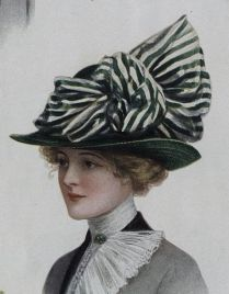 green hat with silk bow