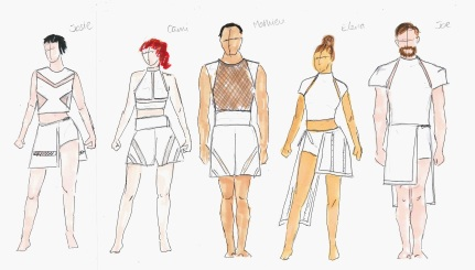 'six' costume drawings